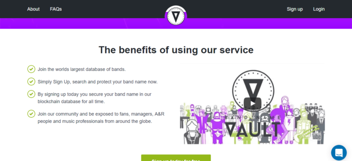 Bandnamevault.com Launches Blockchain Name Registration Service for Bands