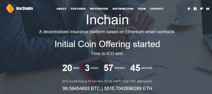 Ethereum-based Inchain – a Blockchain Insurance Platform Raises $130,000 in First Week of ICO