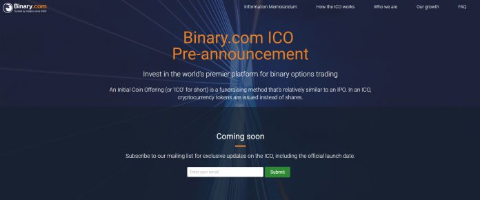 Binary.com Announces Initial Coin Offering (ICO)