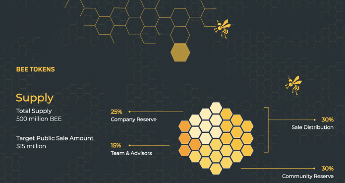 Screen shot of ICO terms used in Bee Token analysis