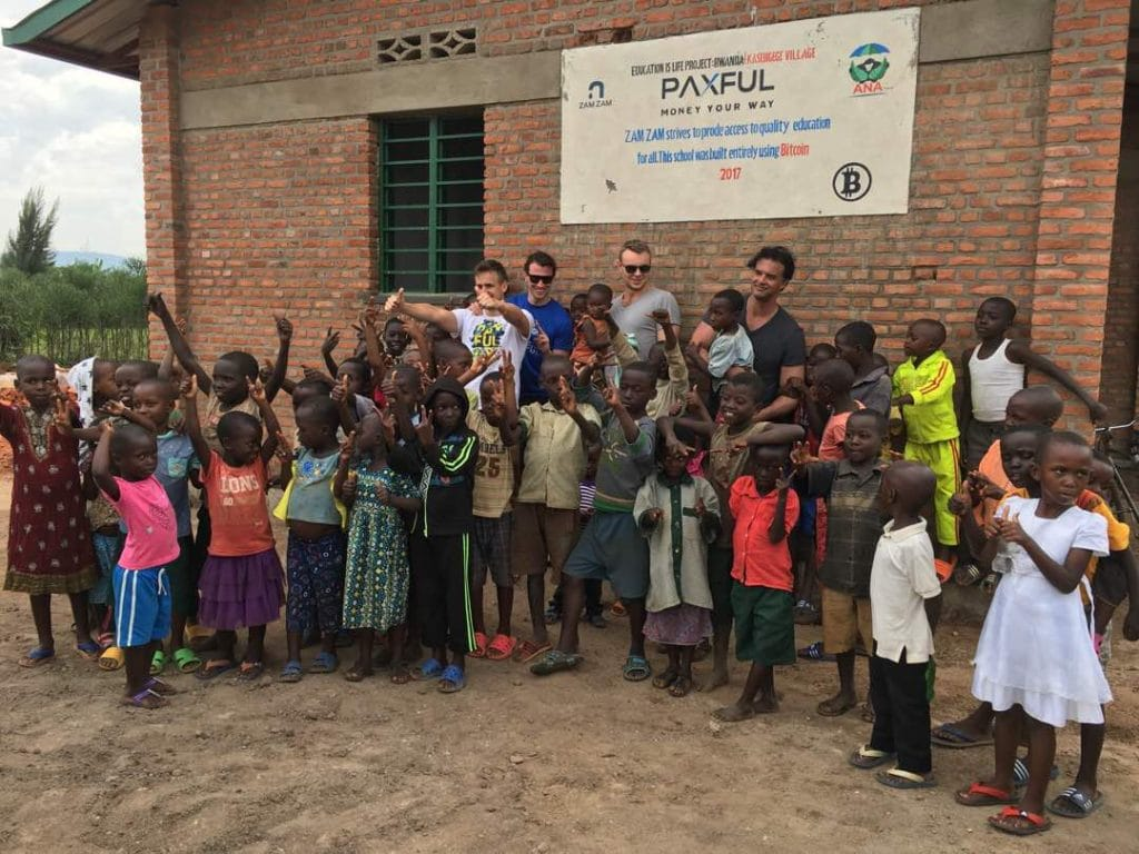 The Paxful team at the BuiltwithBitcoin School in Rwanda